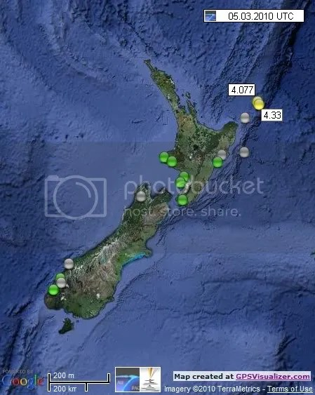 New Zealand Earthquakes 5 March 2010 UTC