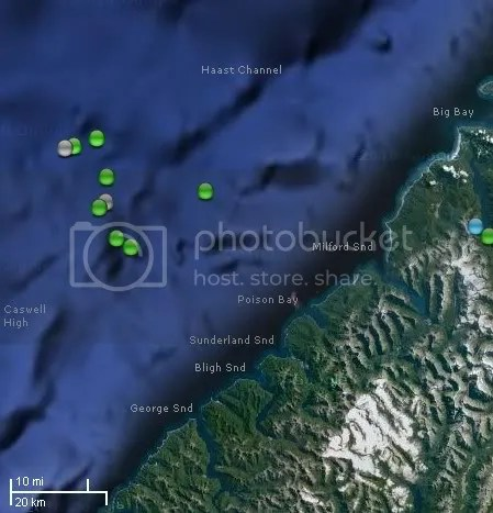 Jan 6, 2010 Offshore Fiordland Swarm location
