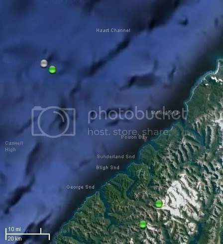 Jan 7, 2010 Offshore Fiordland Swarm location