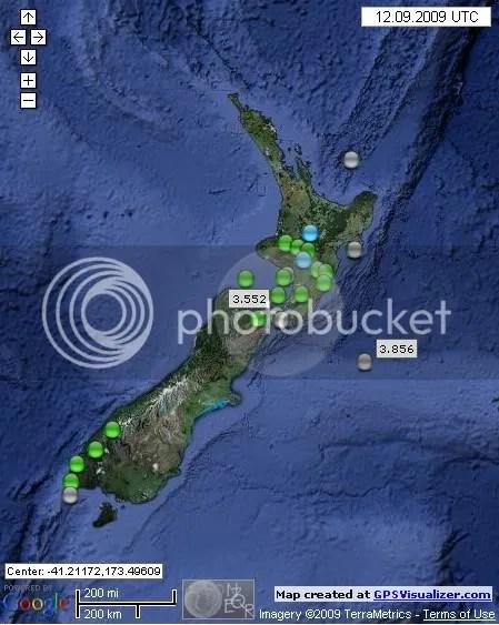 New Zealand Earthquakes September 12  2009 UTC