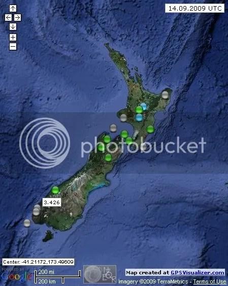 New Zealand Earthquakes September 14  2009 UTC