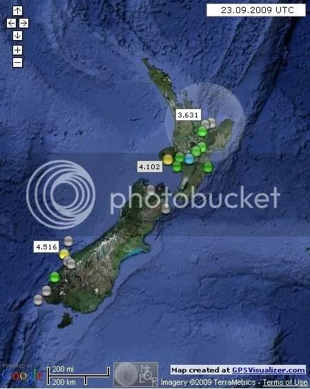 New Zealand Earthquakes September 23 2009 UTC