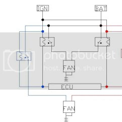S14 Wiring Diagram Plano Convex Lens Ray Altima Electric Fans Into An Nicoclub I Tapped Two 30a Relays One Each The Stock To Control Power 2nd Fan Ran From Terminal Inside Fuse Box In