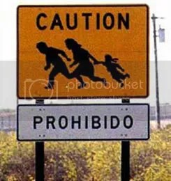 Caution- Illegal Immigrants crossing