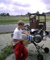 Kart stopped on track. Sam contemplates firing the mechanic!