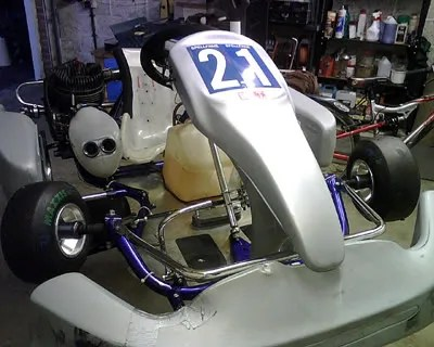 New blue plates fitted to Sams kart