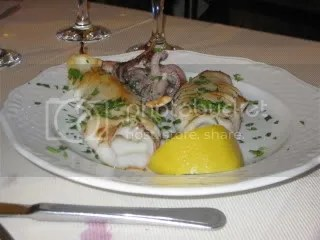 Grilled squid at il Giardino Romano in Rome, Italy.