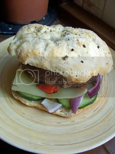 A portobello mushroom sandwich with the works.