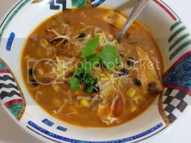 Chicken tortilla soup made in the slow cooker.