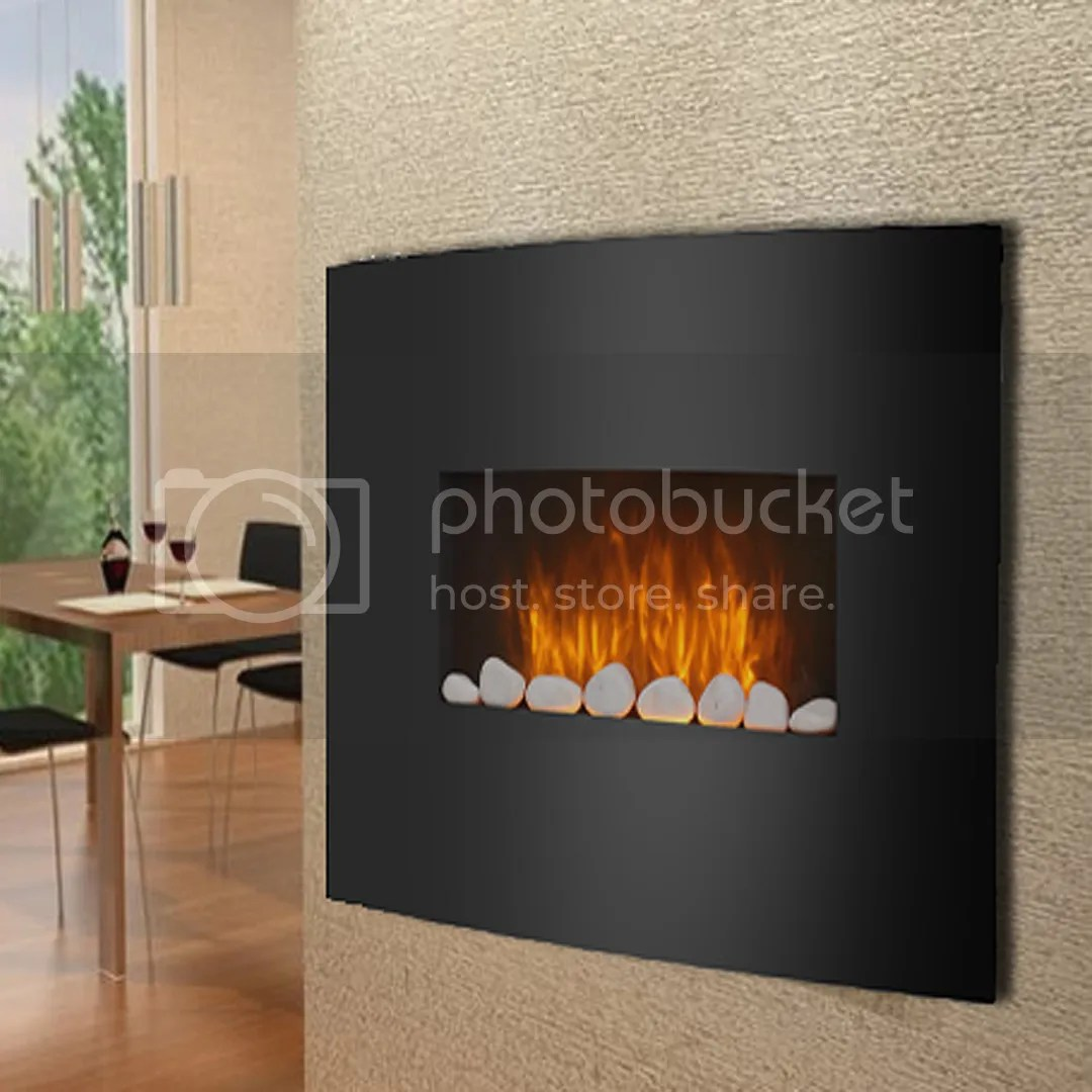 Black Glass Electric Fireplace Fire Slim Curved Wall