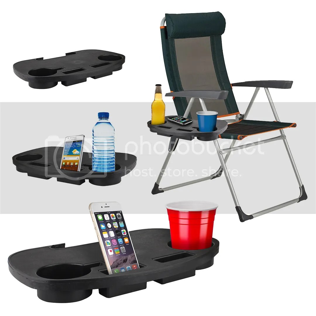 chair side end table with cup holder and a half round camping clip on portable book