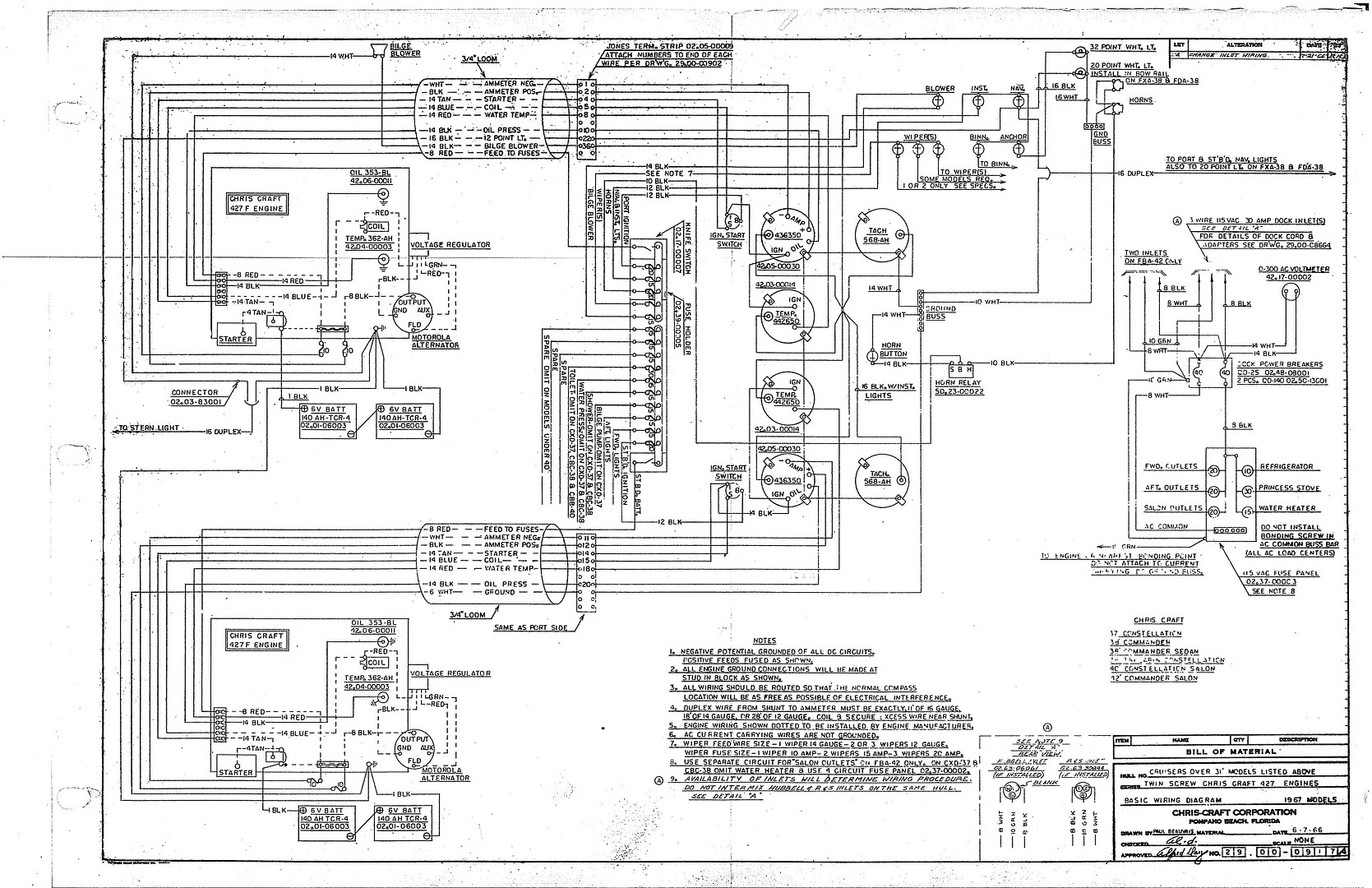 Chris Craft Commander Forum: Wiring Diagram, 1967 31' and