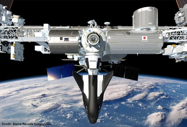 An artist's concept of Sierra Nevada's Dream Chaser cargo ship docked to the International Space Station (ISS).