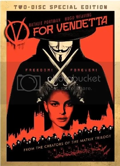 The V for Vendetta special edition DVD cover