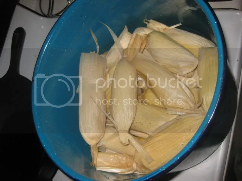 Tamales in the pot for their steaming
