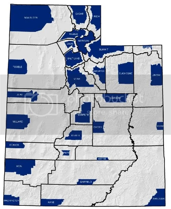 Utah Private Land Ownership by County