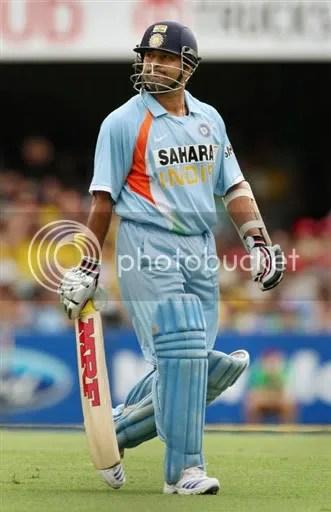 Sachin walks off after dismissal