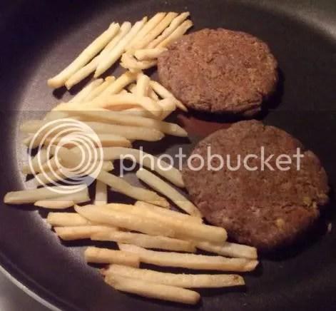 lentil burgers cooking