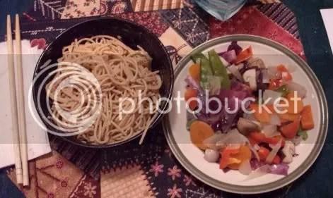 peanut noodles and veggies