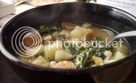 potato kale soup closeup