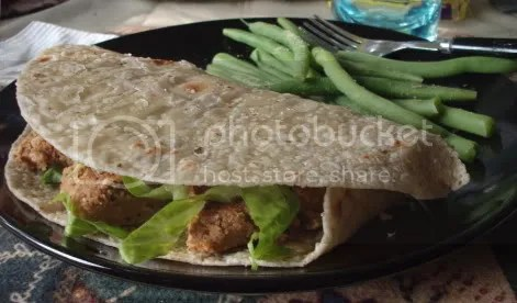 tempeh burger in brown rice wrap