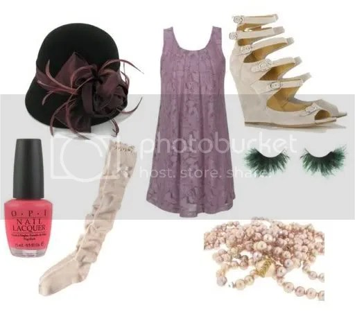 Chloé heels, Cathy Waterman pearls, Paige Denim cloche hat, Charlotte Russe dress, ae.com socks, Nordstrom.com lashes, OPI nail polish