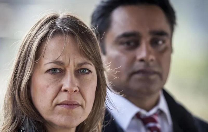 Nicola Walker and a blurry Sanjeev Bhaskar in Unforgotten