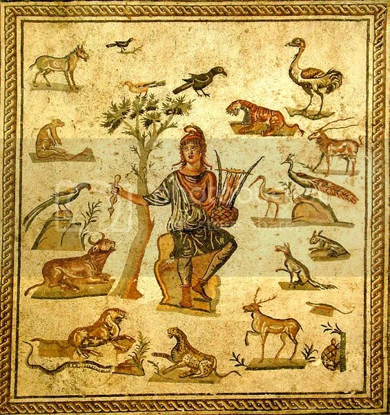Orpheus tames animals with the sound of his music