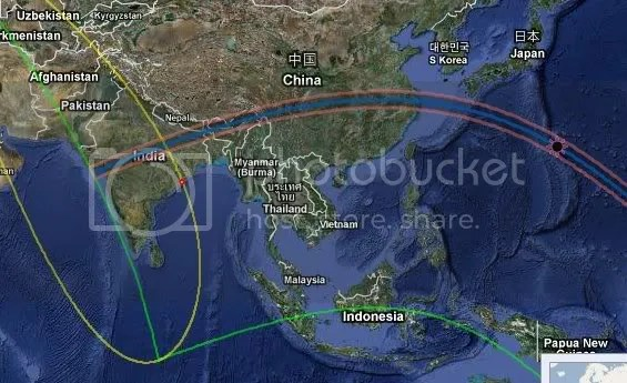 Solar path of 22nd July eclipse -detail