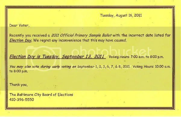 Baltimore City Board of Elections Notice