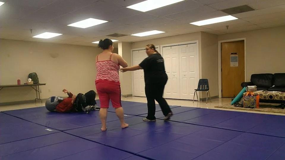 woman doing self-defense
