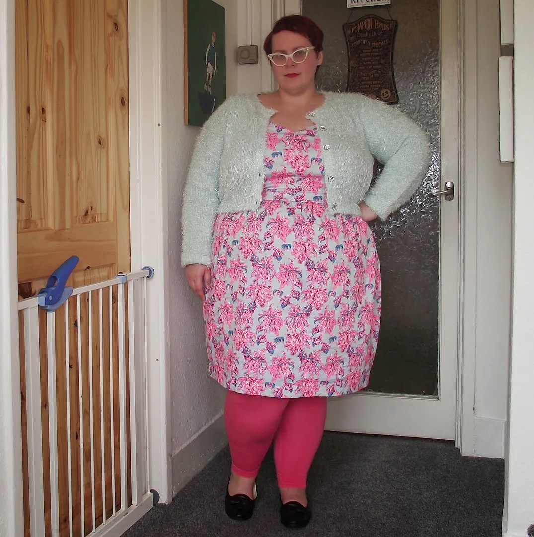 plus size outfit pink floral dress, pink teggings, mint fuzzy cardigan