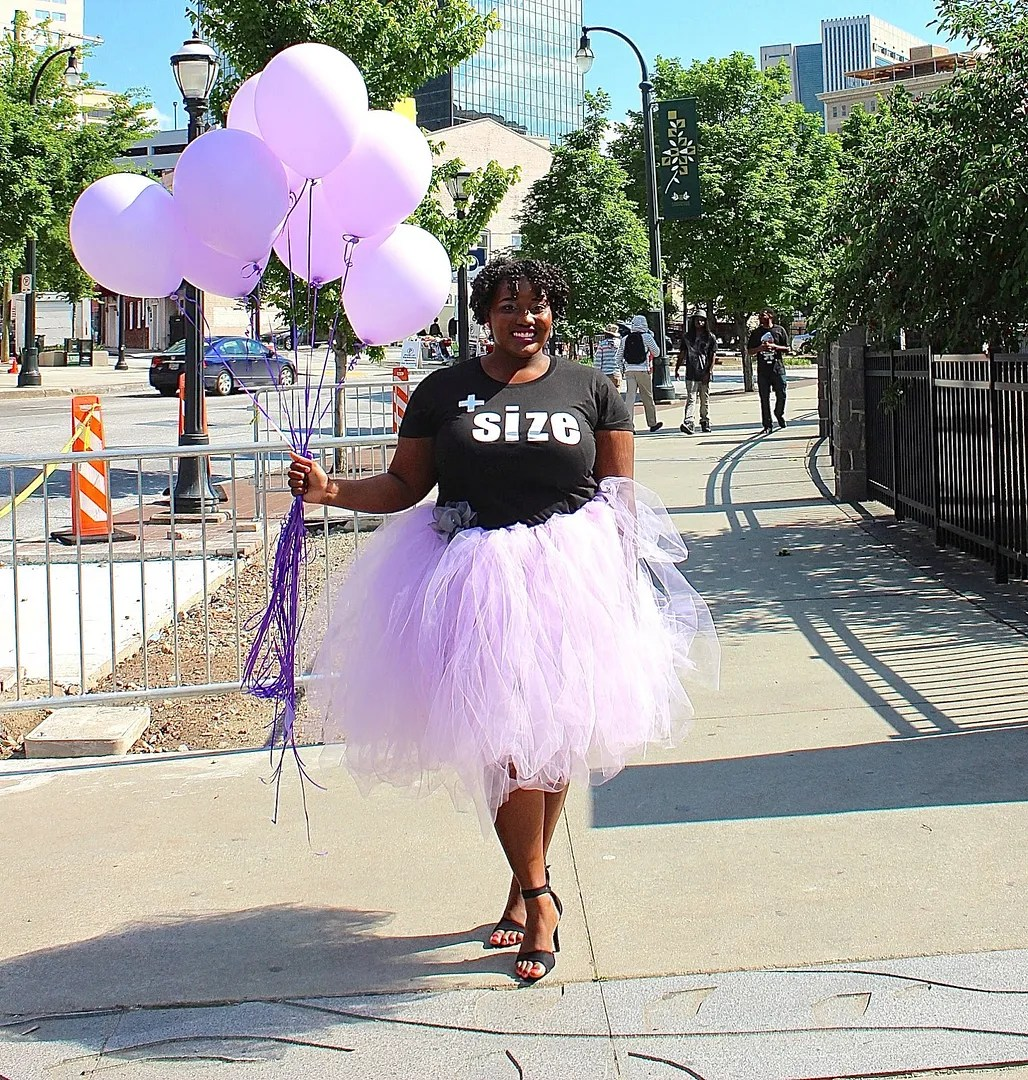 plus size outfit black t-shirt and lavender purple tutu tulle skirt