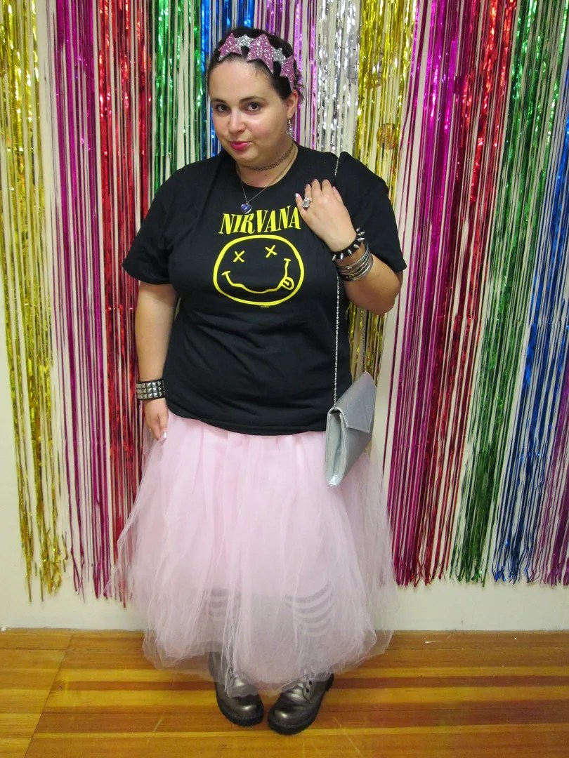 plus size punk outfit pink tutu and black nirvana tee