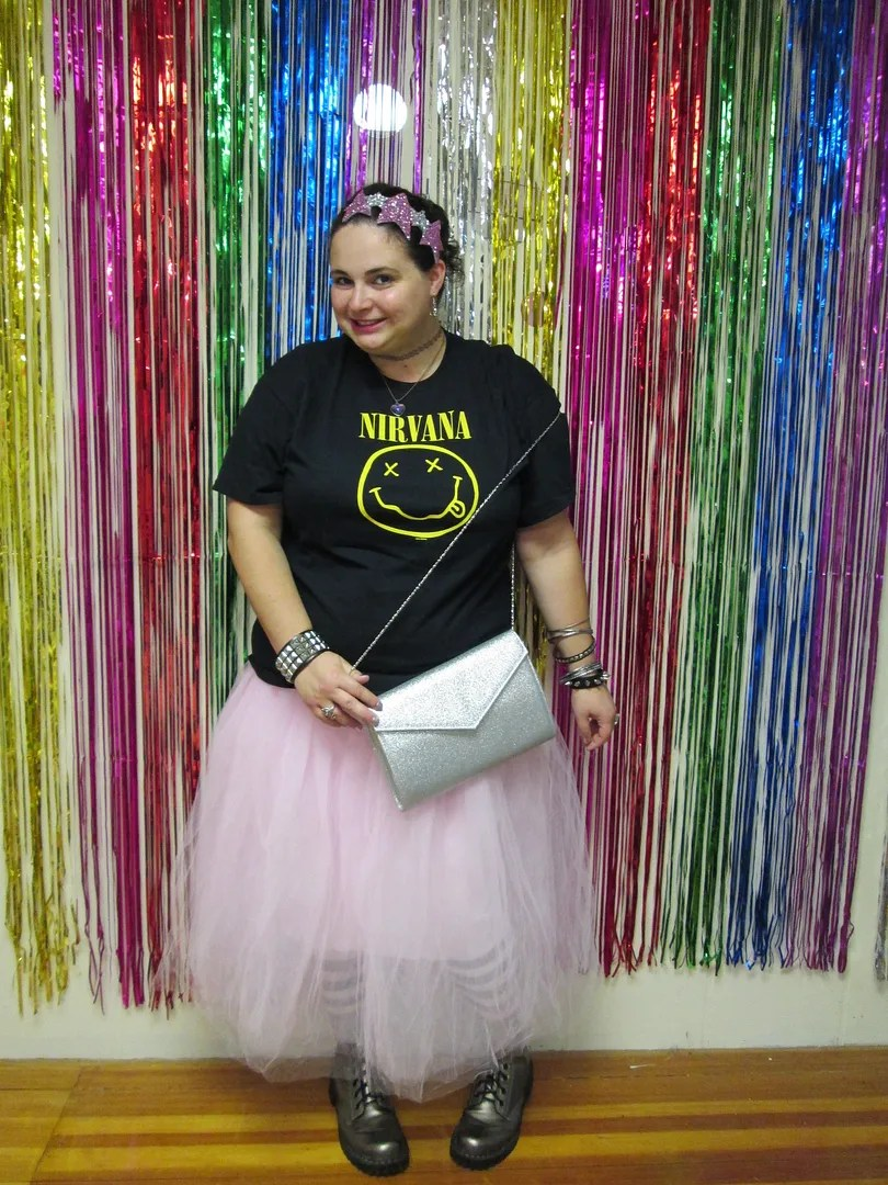 plus size outfit nirvana shirt and pink tutu