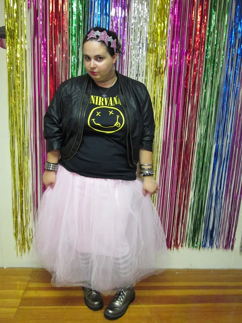 plus size outfit nirvana tee, pink tutu, black leather jacket