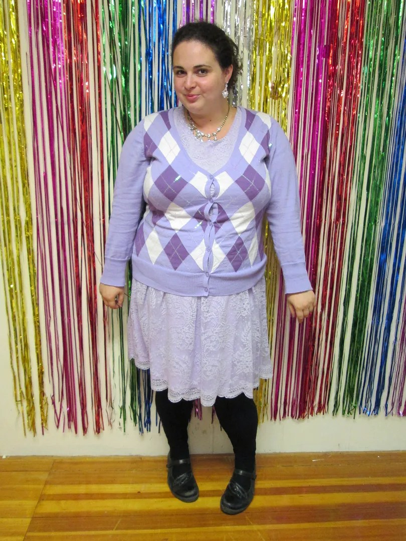 plus size outfit lavender lace dress, purple argyle cardigan, black leggings