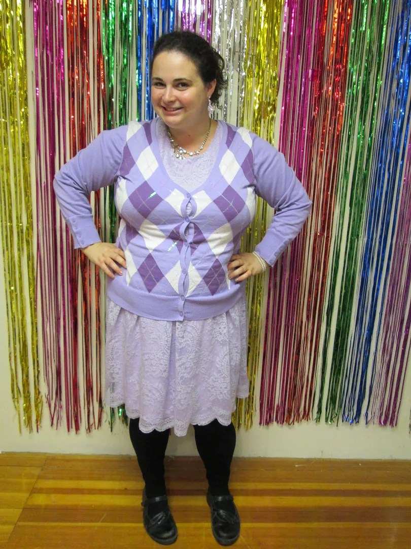 plus size outfit lavender lace dress and argyle sweater