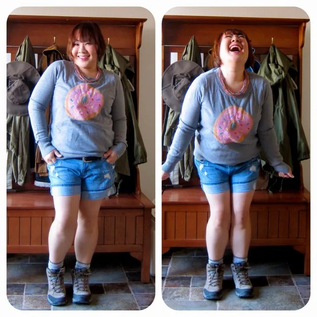 plus size outfit gray donut sweatshirt and denim shorts