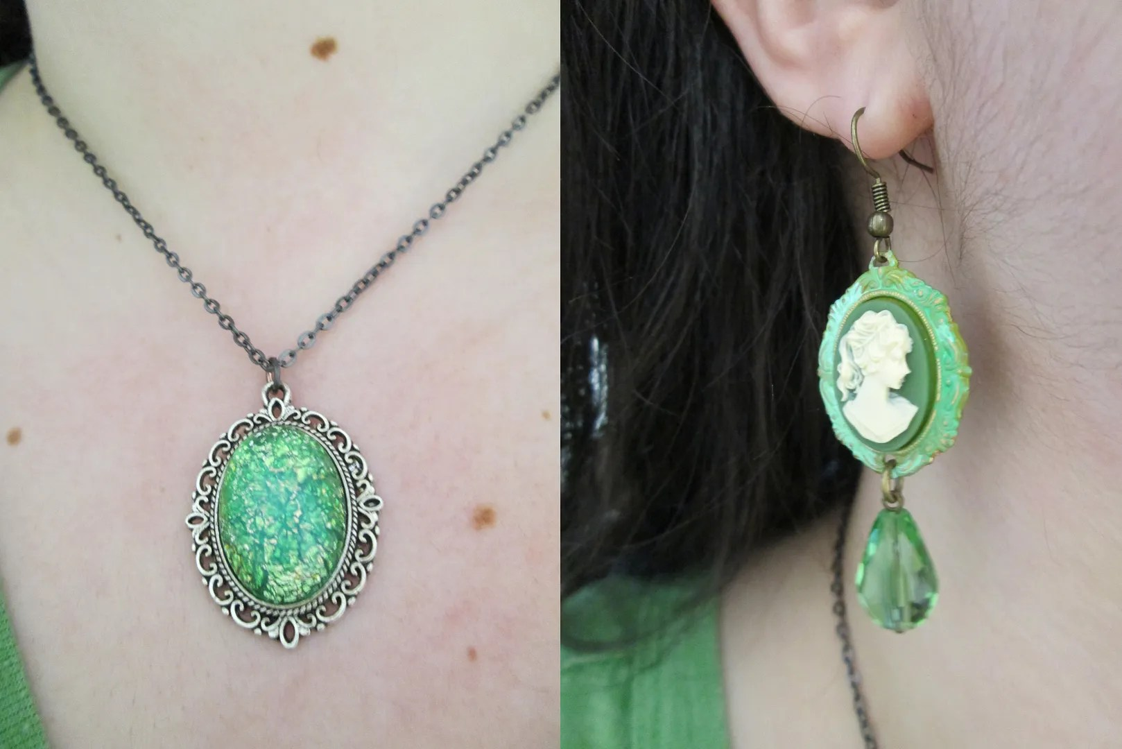 green gem necklace and cameo earring