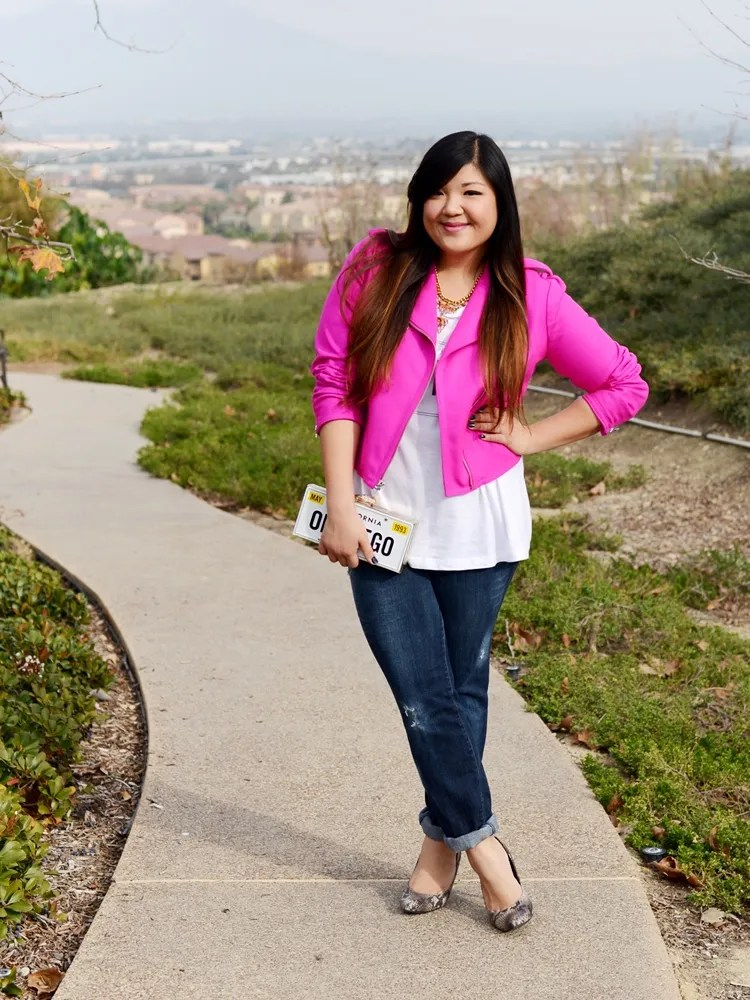 plus size outfit jeans, white button down shirt, hot pink leather jacket