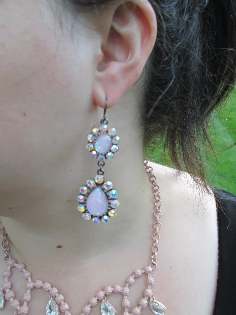 close-up of pink rhinestone earring