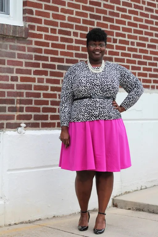 plus size outfit with black and white leopard cardigan, hot pink dress