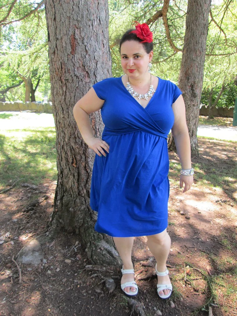 plus size red white blue outfit with blue wrap dress