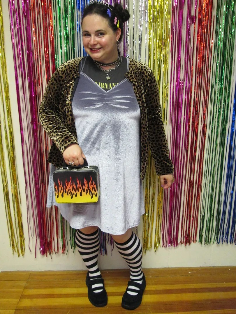 90s plus size outfit with leopard cardigan, velvet slipdress