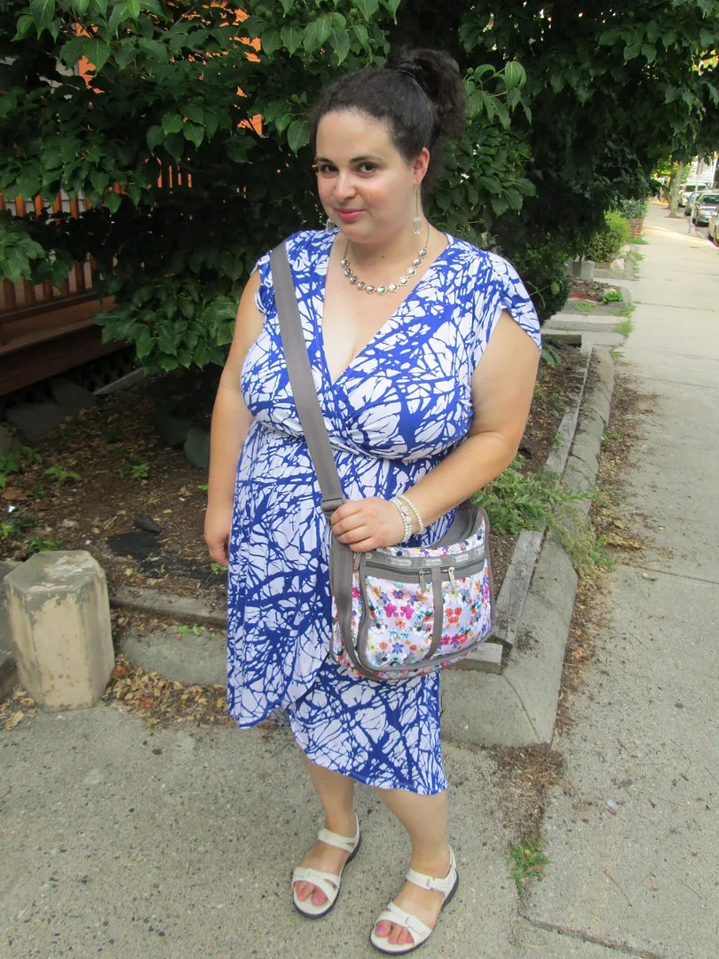 plus size outfit blue and white tree print dress