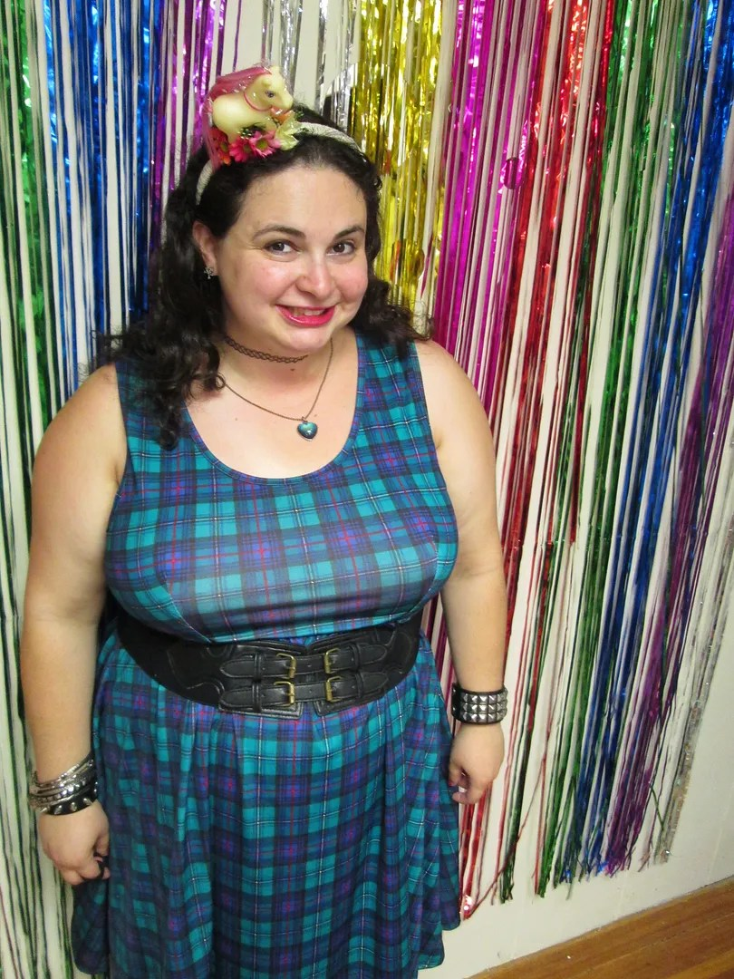 90s plus size domino dollhouse outfit - blue plaid dress, combat boots, my little pony headband