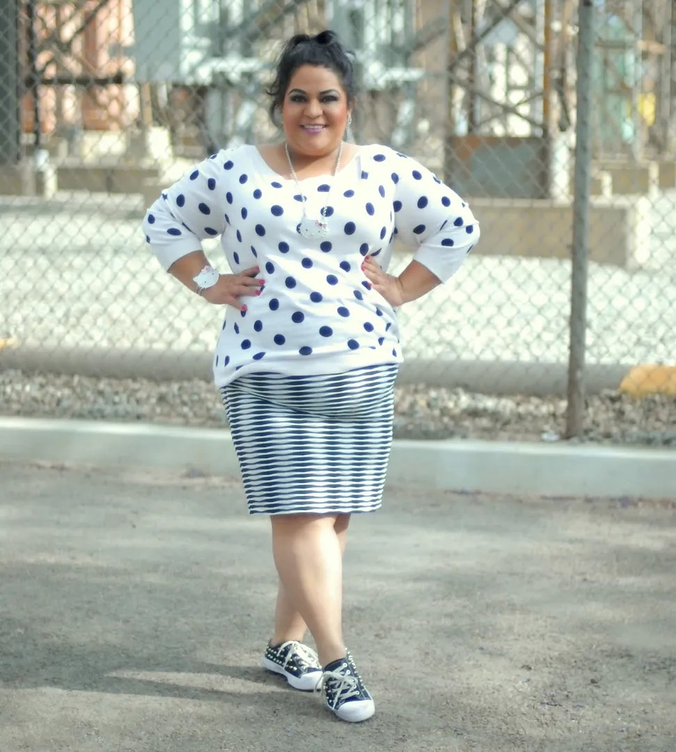 plus size black and white polka dots and stripes outfit with hello kitty necklace and bracelet