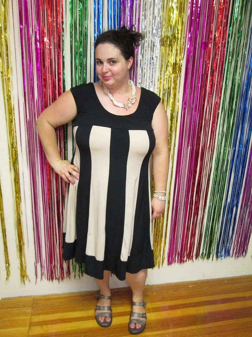 plus size outfit black and beige striped dress