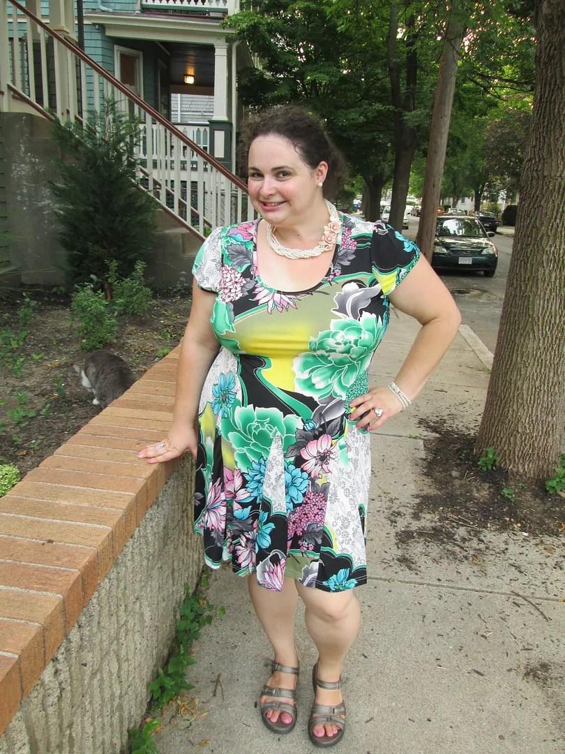plus size green floral multi-print dress